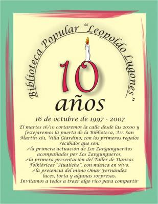 Biblioteca Popular Leopoldo Lugones : Diez años