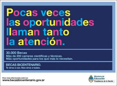 Becas Bicentenario : para carreras científicas y técnicas.